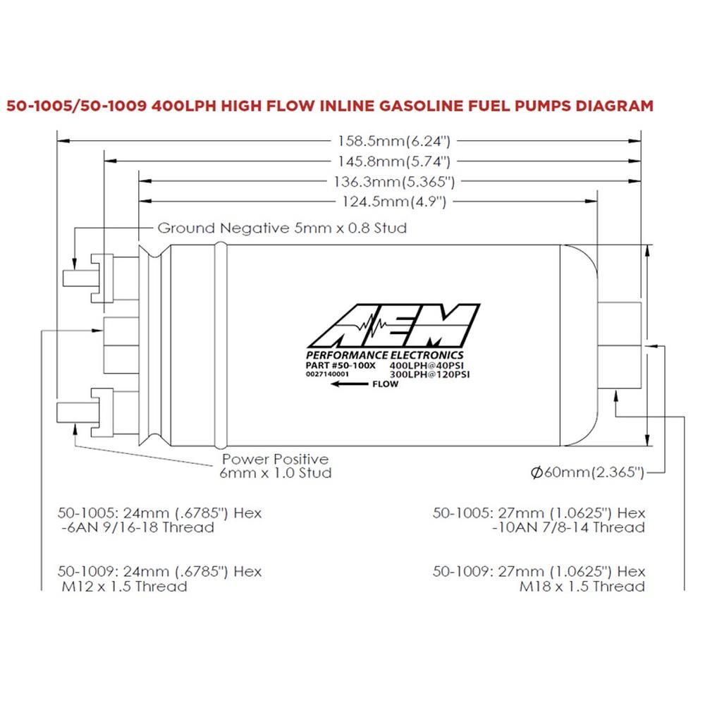 AEM High Flow Inline Fuel Pump 50-1005 Fits:UNIVERSAL 0-0 NON APPLICATION SPE