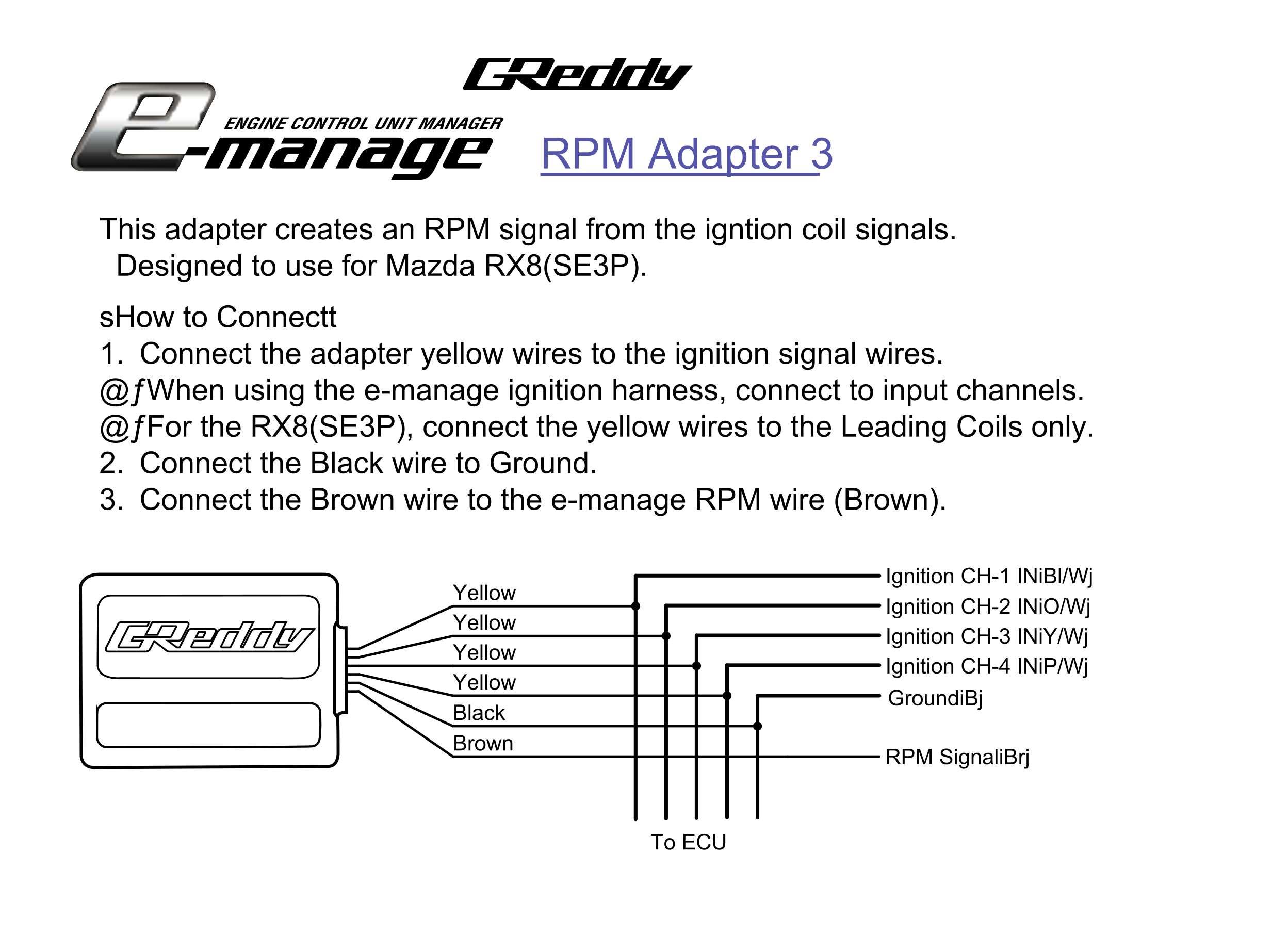 Wankelshop Greddy Rpm Signal Adapter 3 Rx8 Wiring Harness